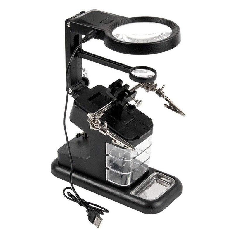 Schweißen Lupe LED Licht 3X 4.5X Objektiv Hilfs Clip Lupe Desktop-Lupe Third Hand Löten Stand Reparatur Werkzeug