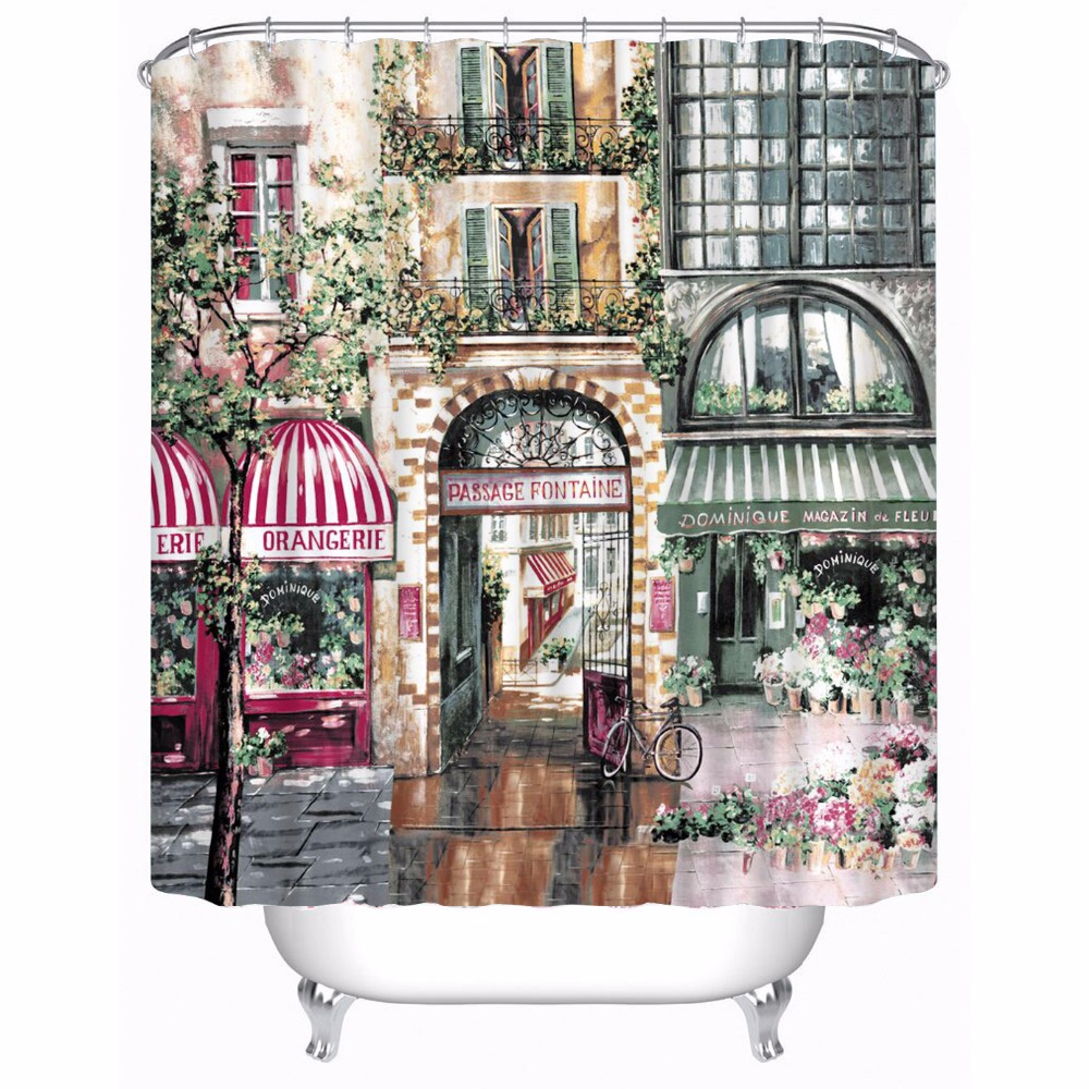 Cafe curtains for bathroom - Vintage European Street Cafe Fashion Bathroom Bath Curtains Waterproof Shower Curtain Size 180x180cm 180x200cm