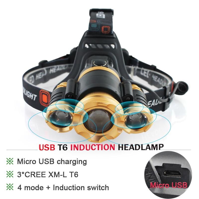 Zoom Led head light Induction Head Lamp cree xml 3t6 IR Sensor Headlight waterproof USB Headlamp use 18650 battery HeadTorch led headlamp ir sensor rechargeable led headlight 4 cree xml t6 2 cob head light torch usb 18650 head lamp flashlight headtorch