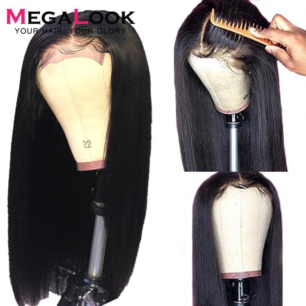 Megalook 4 4 Closure Wig Straight 210 Density Natural Black Color 100 Remy Hair 10inch 32inch