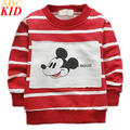 2017 Spring Infant Boys Cartoon Mouse Long Sleeved Hoodies Striped Causal Fashion Baby Sweatshirt 0-3Years Boys Clothing KC183
