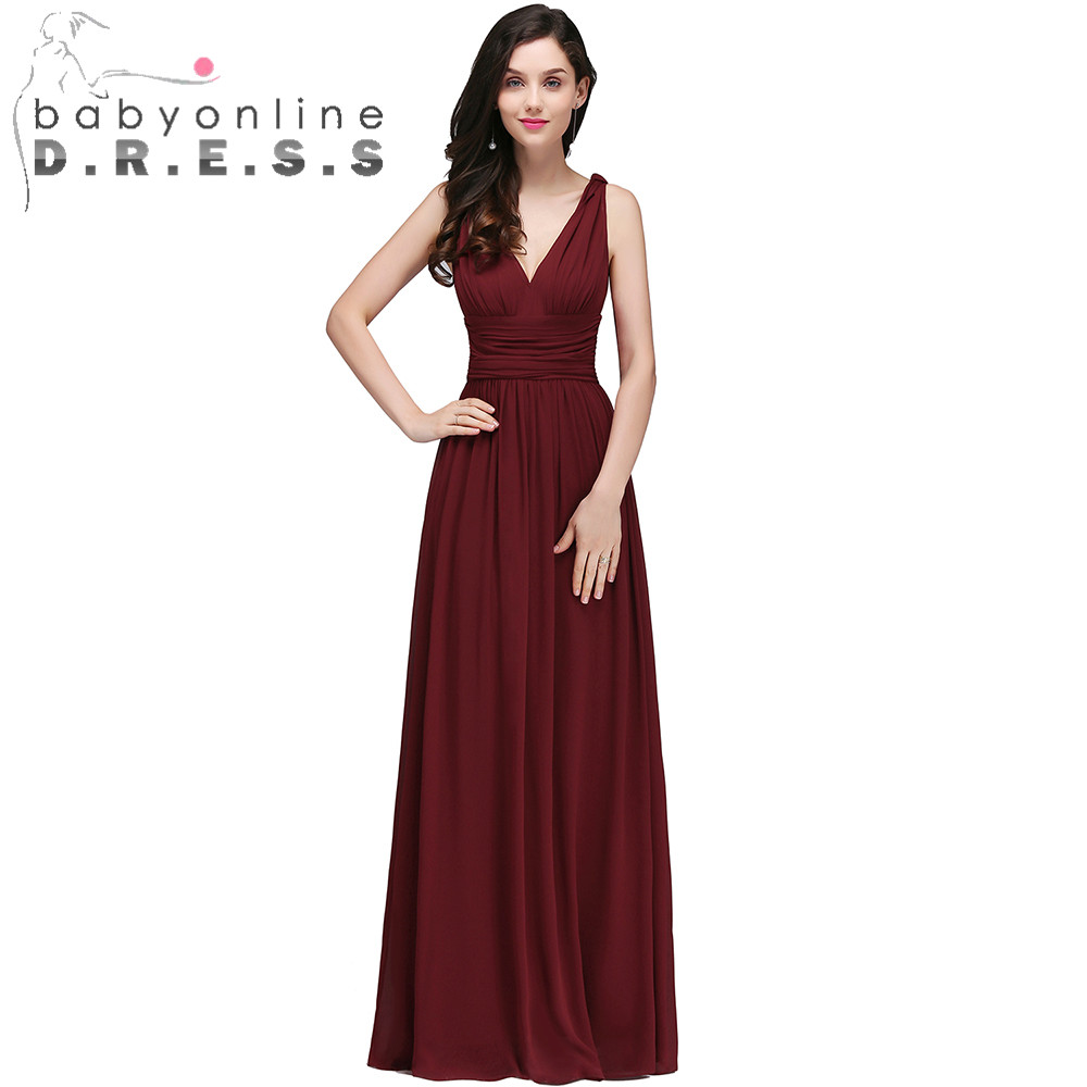 Sexy V Neck Backless Burgundy   Prom     Dresses   Long Cheap Chiffon A Line Evening Party   Dresses   Robe de Soiree Longue