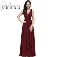 Sexy V Neck And Backless Long Evening Dresses Pleated Empire Waist Chiffion Cheap A Line Evening
