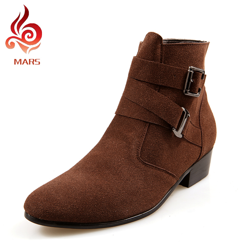ФОТО 2016 Men Winter Boots Fashion Men Shoes Casual Suede Shoes Men New Style Ankle Boots Men Pointed Toe Warm Boots Size:39-44 JL512