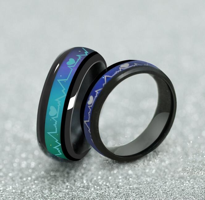 Unique Tone Colorful Changing Heartbeat Heart Ring Mood Temperature Emotion Feeling Love For Women Men Wedding Jewelry gift