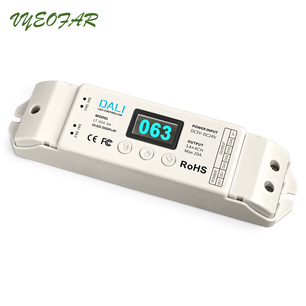 Ltech New DALI Dimmer PWM Dimming Driver RGBW Controller 5-24V 5A*4CH Output LT-454-5A DALI LED Dimming Driver Free Shipping dmx512 digital display 24ch dmx address controller dc5v 24v each ch max 3a 8 groups rgb controller