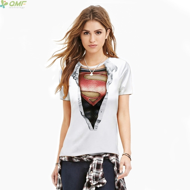 f3ee922b Cartoon Superhero Supergirl 3D Print T-shirts Ladies Fashion Women Tops  Short Sleeve Casual Tees Superman Streetwear Tshirt Slim