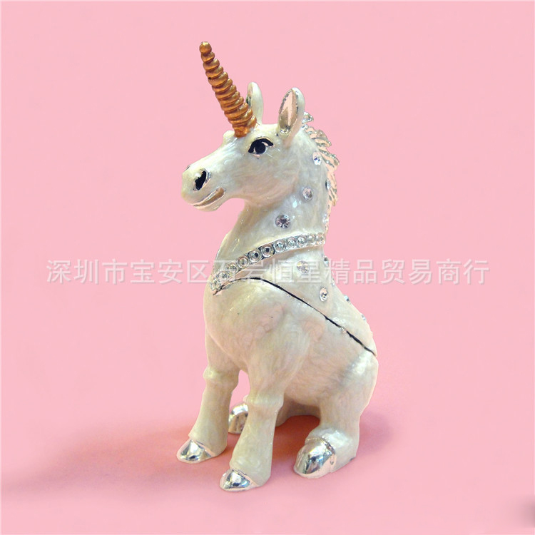 European Chinese style Metal enamel painted crafts Angle horse, home decoration desktop ornaments (A506)