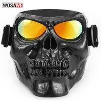 Motorcycle Glasses Detachable Modular Mask Motorcycle Goggles Mouth Filter Motocross Glasses Moto Helmet Glasses Vintage Skull