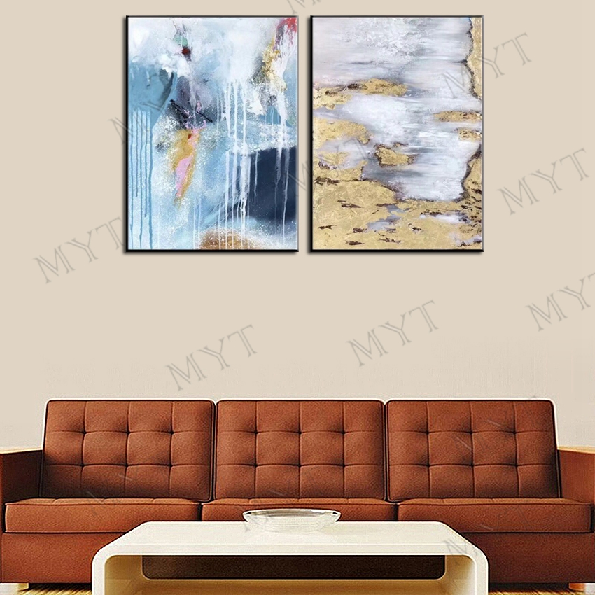 MYT شحن مجاني 2 أجزاء جدار الفن النفط اللوحة لتزيين الجدران رسمت باليد راقصة الباليه النفط اللوحة على قماش الصور-في الرسم والخط من المنزل والحديقة على  مجموعة 2
