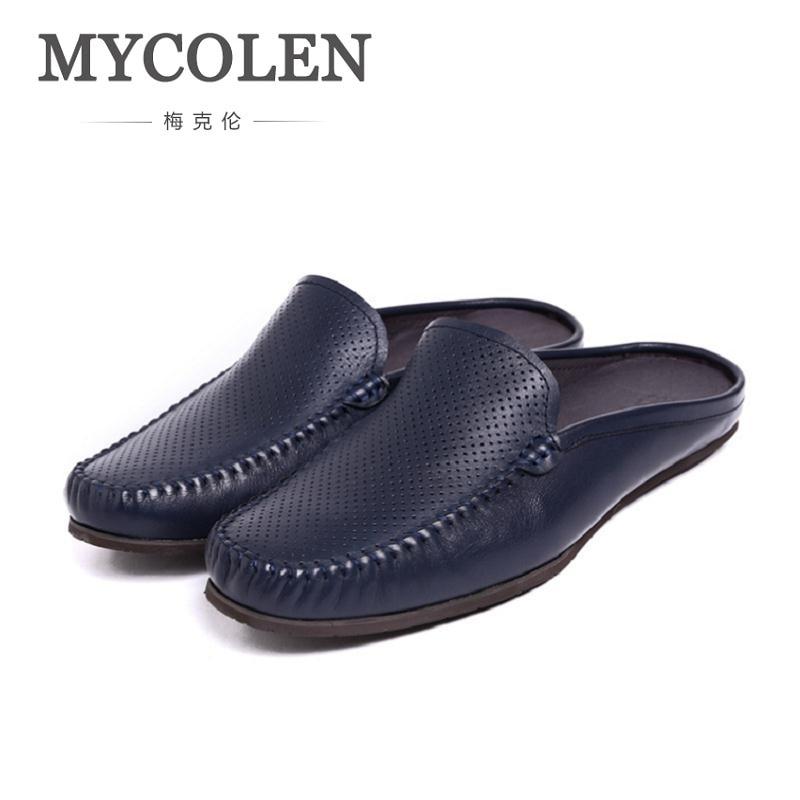 Sapatos Da Ocos Preto Couro Alpercatas De azul branco Verão Slipon Marca Respirável Italiano Homens Metade Luxo Mocassins Mycolen Genuíno Sapato Dos 7qw5UE