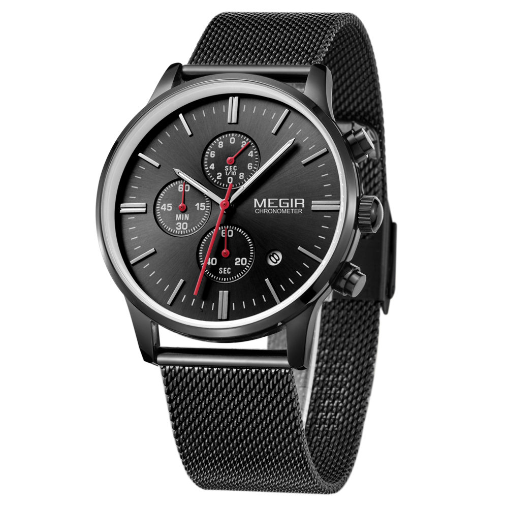 MEGIR Watches Men Stainless Steel Mesh Strap Band Quartz-Watch Solid Color Fashion Simple Stylish Top Luxury Brand Wristwatches new arrival longbo 5072 fashion women men quartz watch stainless steel mesh band simple wrist wacthes for lover luxury top brand