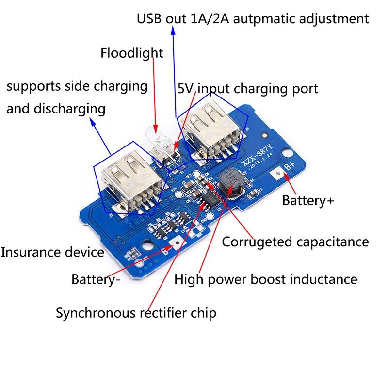 5 v 2a carregador de banco de potência módulo de carregamento placa de circuito step up impulso módulo de alimentação 2a dupla saída usb 1a entrada