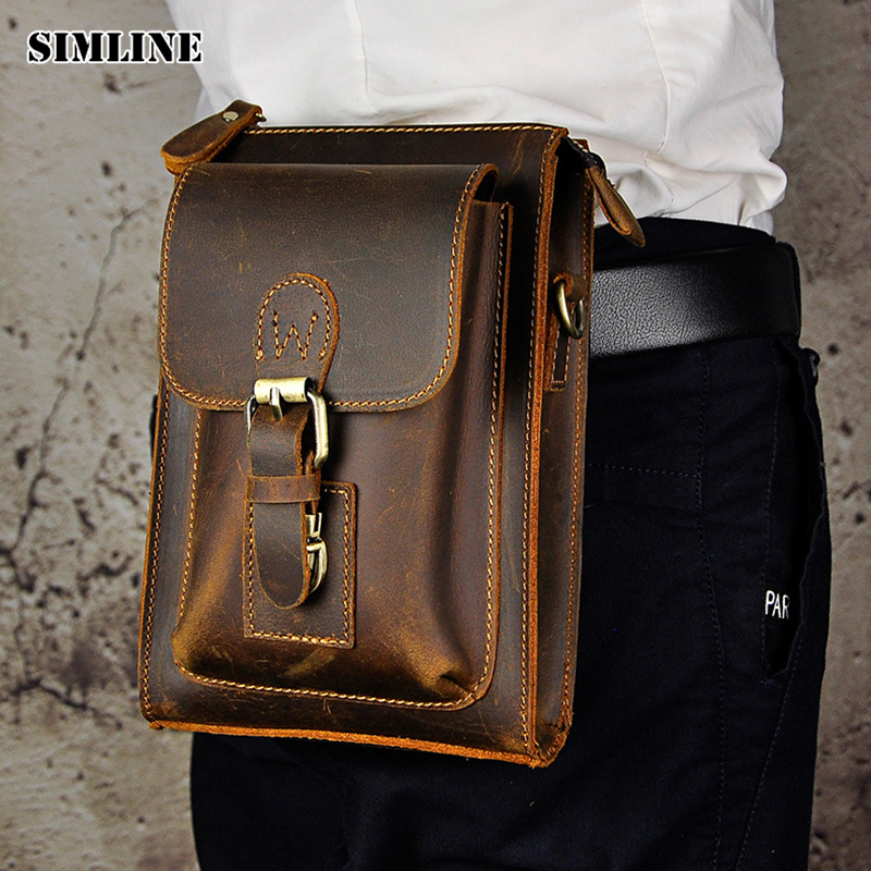 SIMLINE Vintage 100% Genuine Crazy Horse Leather Cowhide Men Mens Waist Bag Pack Packs Small Shoulder Crossbody Bag Bags For Man simline 2017 vintage genuine crazy horse leather cowhide men men s messenger bag small shoulder crossbody bags handbags for man