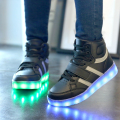 2017 Fashion Boys and Girls Shoes High Top USB charge LED With Light children Casual Shoe Luminous Neon Basket Sneakers For Kids