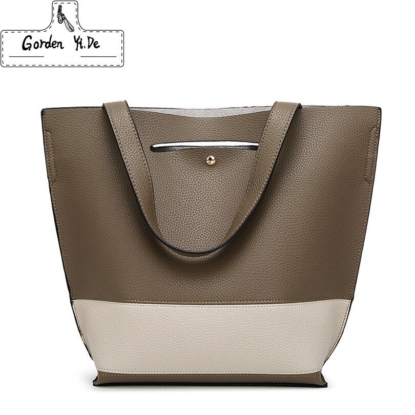 2018 NEW Brand Designer Bucket bag Women Leather Wide Strap Shoulder bag Handbag Large Capacity Crossbody bag Bolsas Sac A Main