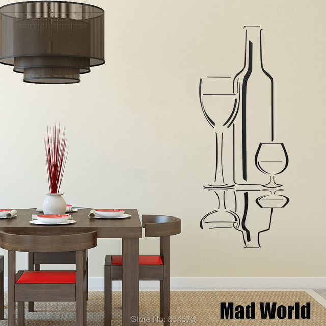 Mad World Wine Gles Kitchen Silhouette Wall Art Stickers Decal Home Diy Decoration Removable