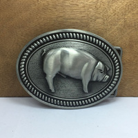 Pig belt buckle with pewter finish FP-03688 suitable for 4cm wideth belt with continous stock