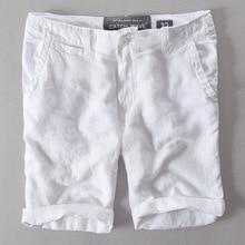 Новое поступление года льняные пляжные шорты мужские белые сапоги до середины талии свободные Мужская купальная одежда, Шорты повседневные модные пляжные шорты Для мужчин с коротким