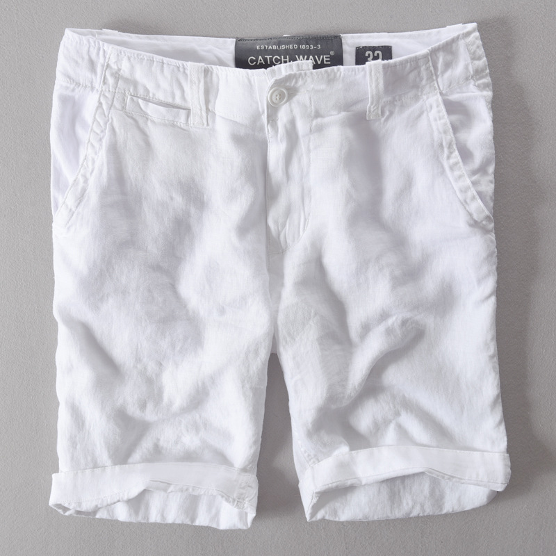 2017 New Arrival 100% Linen Beach Shorts Men White Mid-waist Loose Men Swimwear Shorts Casual Fashion Board Shorts Mens Short