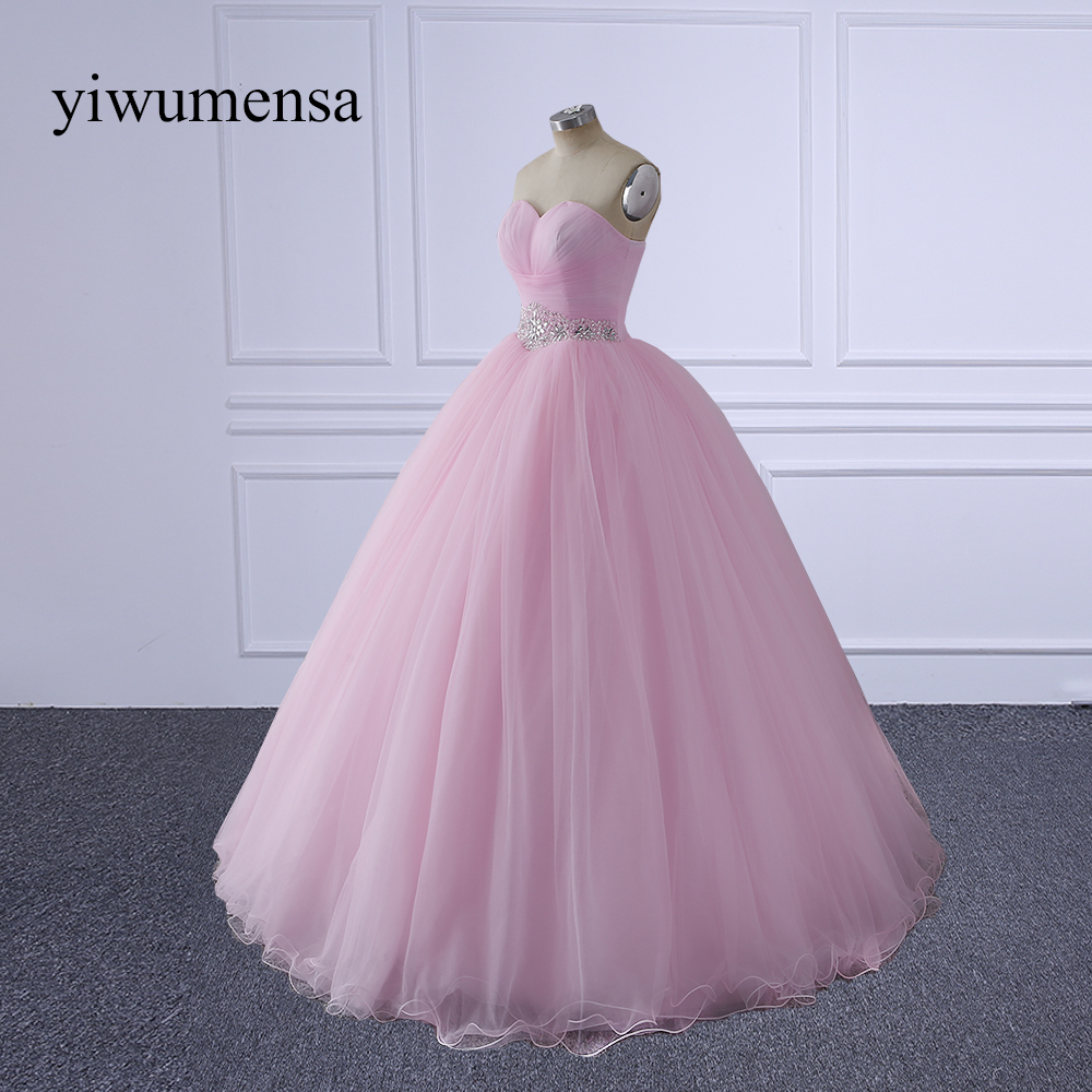 yiwumensa Sexy Long   Prom     Dresses   Pink Sleeveless Tulle Crystal Beading vestido de festa Formal Party lace-up 2018   Prom     dress