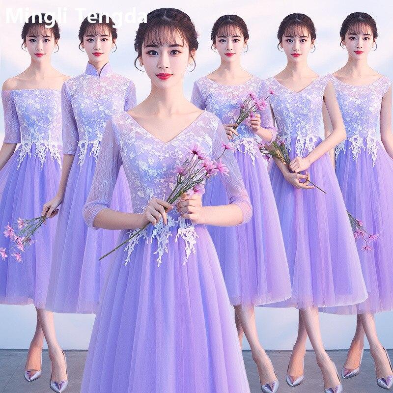 Bridesmaid-Dresses Party-Gown Sleeves Graduation Tea-Length Purple Off-Shoulder Lace