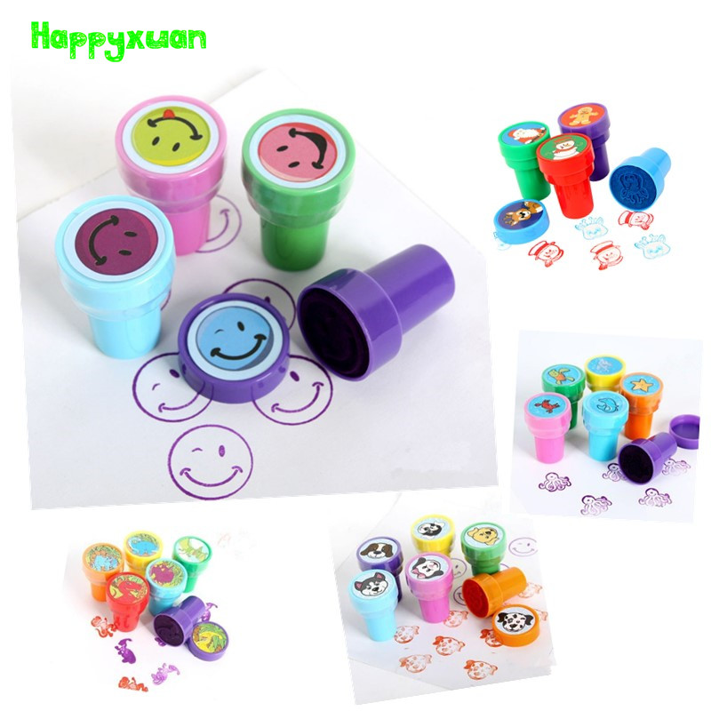 Happyxuan Kids Cartoon Toy Stamp Set Dinosaur Christmas Ocean Animal Smile face Self-inking Cartoon Stamper For Children bbloop out bold rounded self inking stamp rectangular laser engraved red