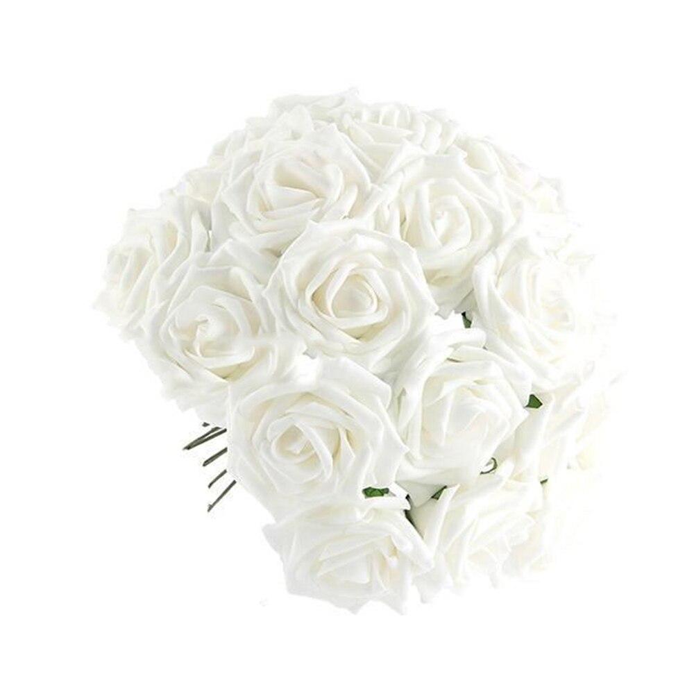 50 Pcs Artificial White Foam Rose Flower Bouquets Home Decoration