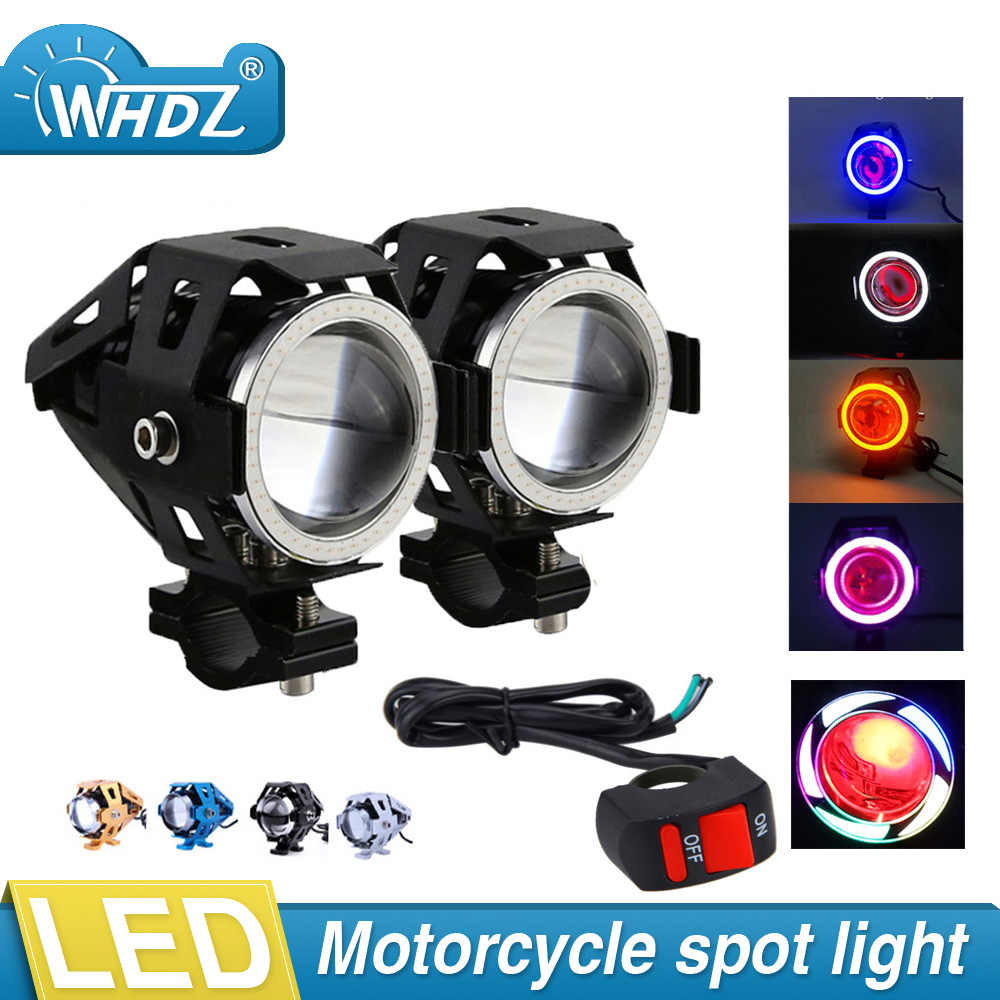 Set 2pcs 4 colors Motorcycle LED Headlight U7 LED Fog Lamp Spot Light Spotlight Driving Daytime Lights &1pcs Wiring Harness kit