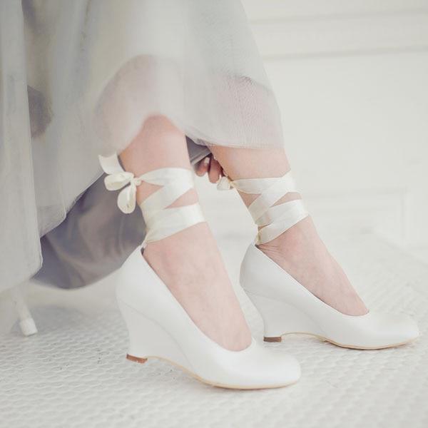 custom handmade ivory satin wedding shoes womens pumps wedge heel with ribbon