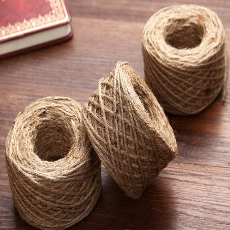 50mroll diy natural jute rope burlap ribbon twine decorative hemp rope clothing accessories wedding