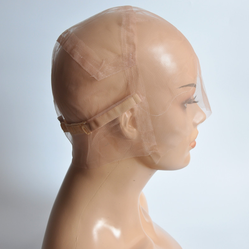 S/M/L Brown/Beige Full Lace Wig Cap For Making Wig Strong Swiss Lace Cap With Guide Line Sewn In For The Hairline