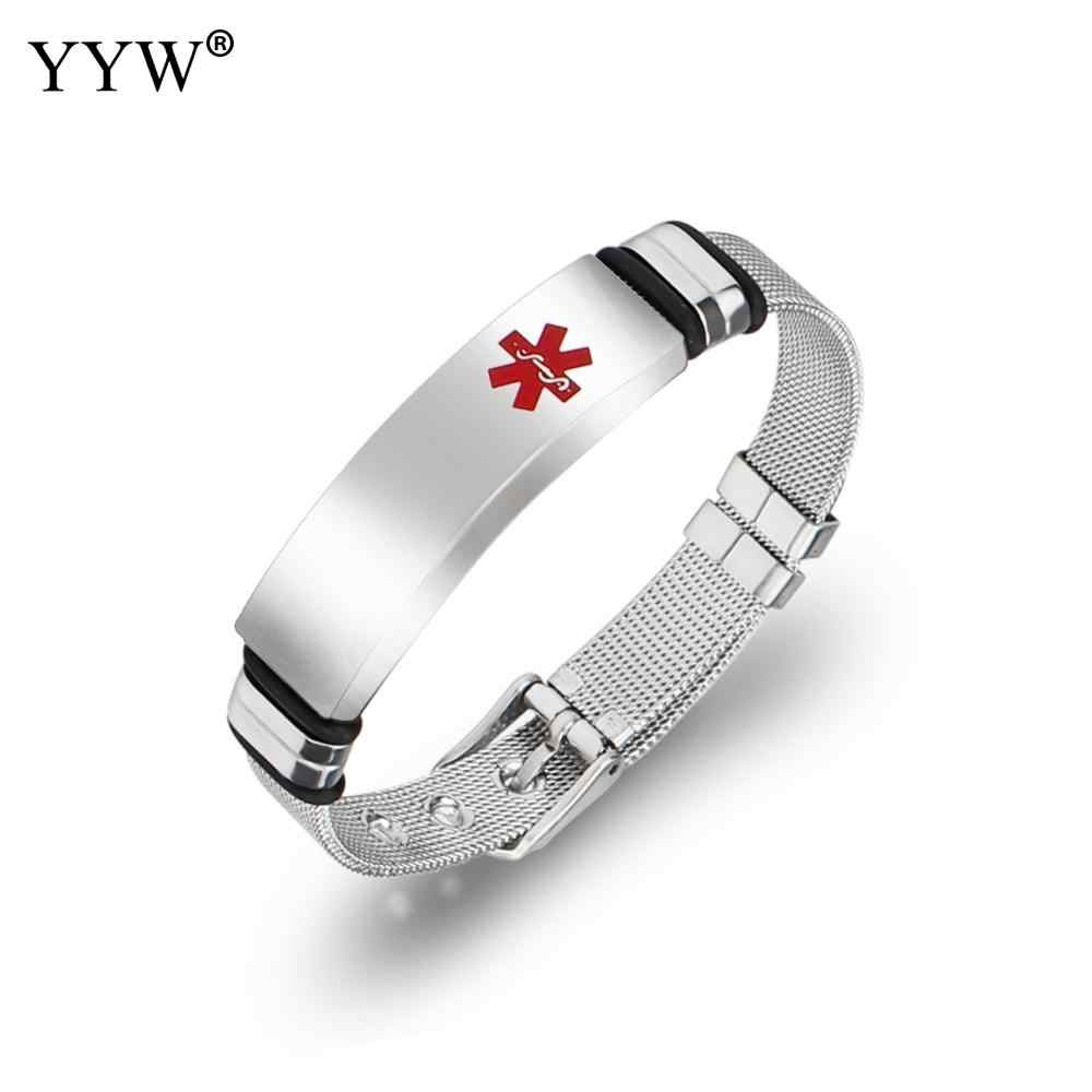 YYW Medical Alert Id Bracelet For Women Men Stainless Steel Adjustable Watch Band Emergency Jewelry