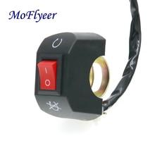 MoFlyeer Motorcycle 22mm Handlebar Headlight Switch E-Bike ON/OFF Headlamp Switches For 7/8 Handle ATV/Scooter/Moped/Motocross