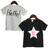 Wholesale High Quality Children T Shirt Summer Clothing Stars Hello C Printed Kids Casual Tops T