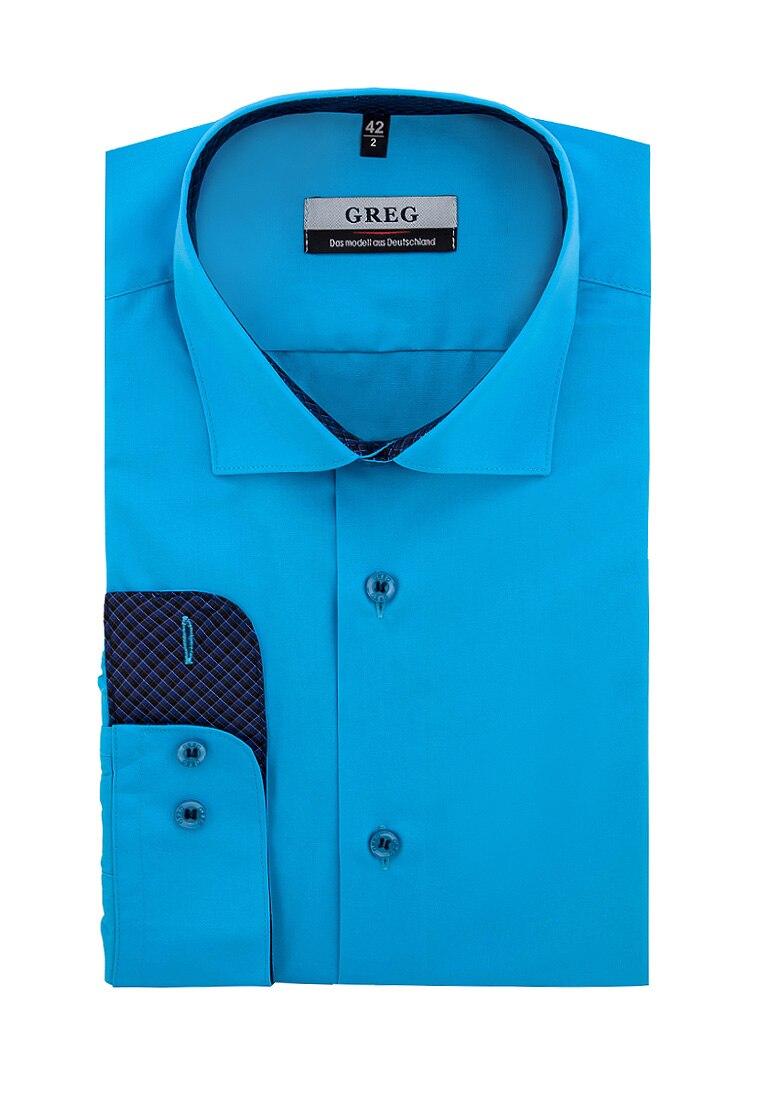 Shirt men's long sleeve GREG 220/139/BRT/Z/1_GB Turquoise 3d bird and flower printed plain fly shirt collar long sleeves shirt for men