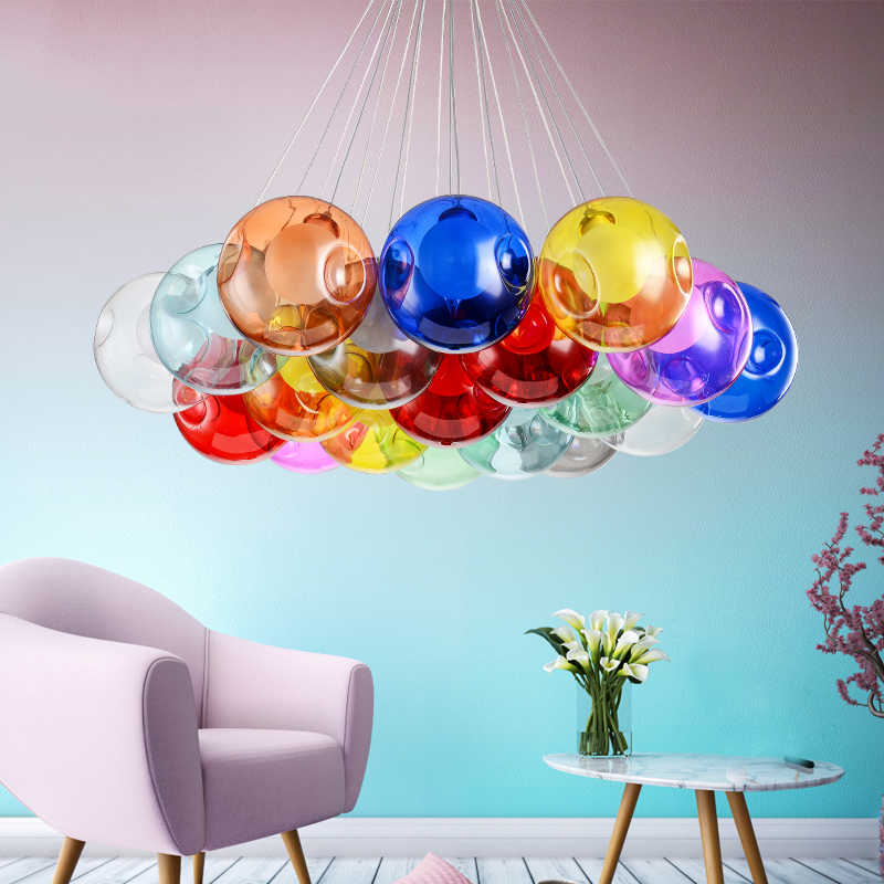 Modern Led Chandelier Lighting Color Bubble Ball Pendant Lamp Home  Pendan Decor Dimming Hanging Lamp Bedroom Living Room Indoor