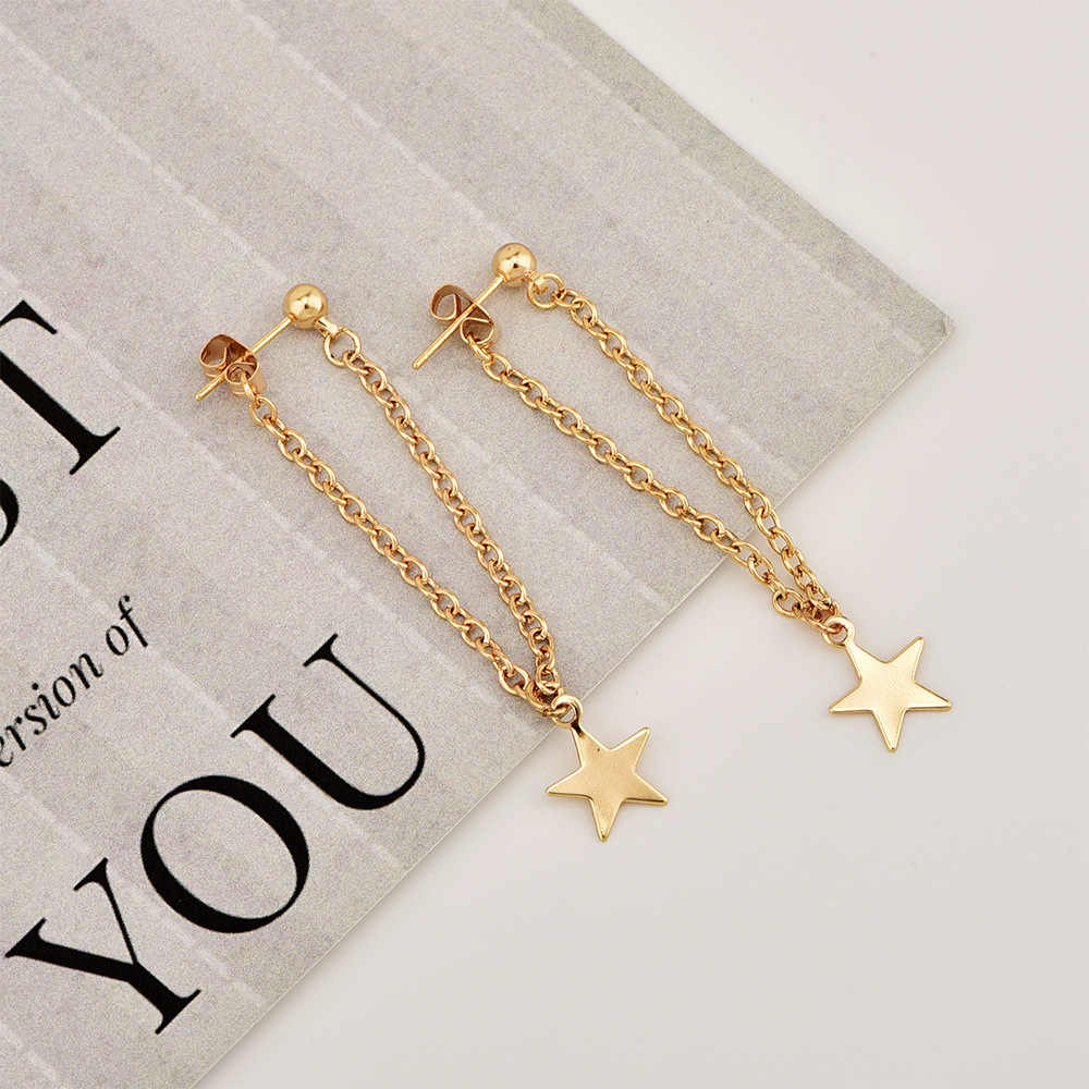 Fashion Personality Women's Simple Metal Five-pointed Star Earrings Hanging Chain Tassel Long Paragraph Wild Earrings Wholesale