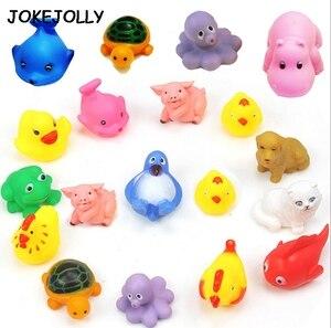 Image 5 - 10 ピース/セットかわいいベビーバスおもちゃ洗浄再生動物ソフトゴムフロート sqeeze サウンドのおもちゃ gyh