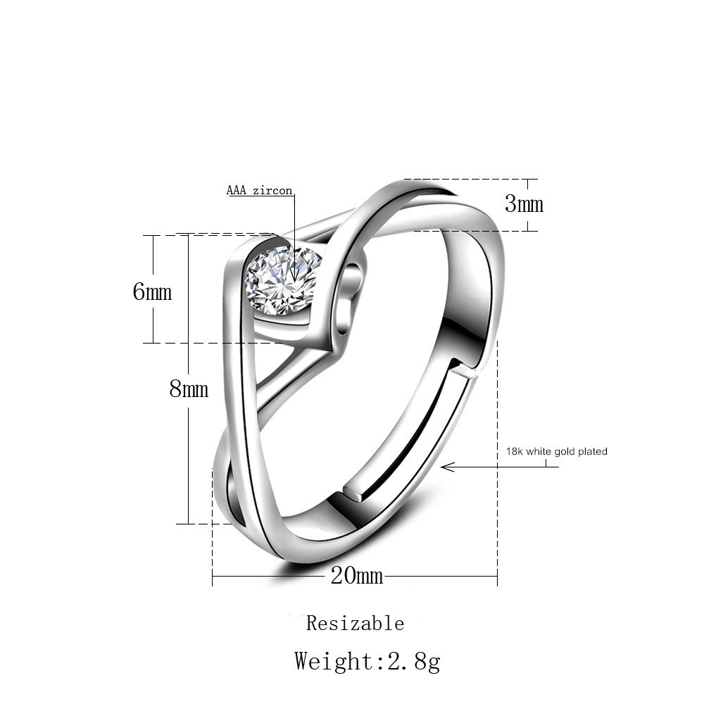 YIXI Crystal Romantic Wedding Rings Jewelry Cubic Zirconia Ring for Women Cross Finger 925 Sterling Silver Rings Accessories