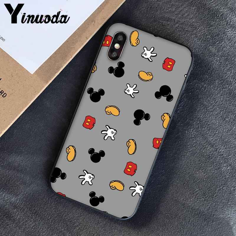 Yinuoda Beleza Dos Desenhos Animados Mickey Minnie Mouse Chegou Transparente Telefone Celular Case para iPhone 5 5Sx 6 7 7plus 8 8Plus X XS MAX XR