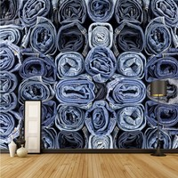 Free Shipping Denim Clothing Store Image Decoration Wall Living Room Bedroom Wallpaper Bathroom Coffee House Mural