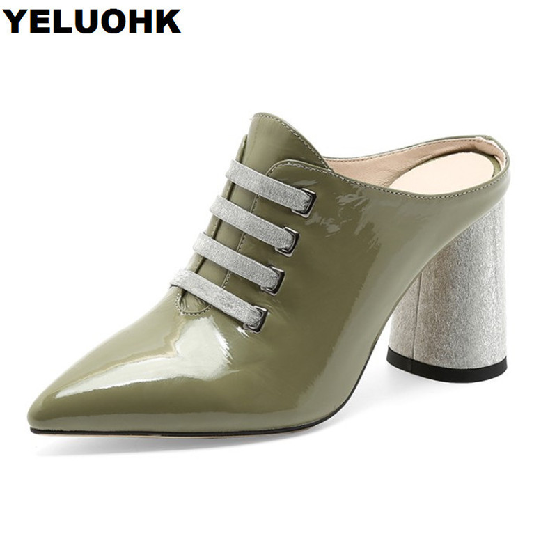 Brand Genuine Leather Shoes Women Slingback Pumps Pointed Toe Patent Leather Shoes Woman High Heels Summer Shoes Women Slides