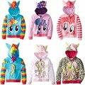 90-150. nuevos niños abrigo, niñas chaqueta de my little pony capa de los niños lindo camisas y sudaderas, 100% algodón de los niños clothing