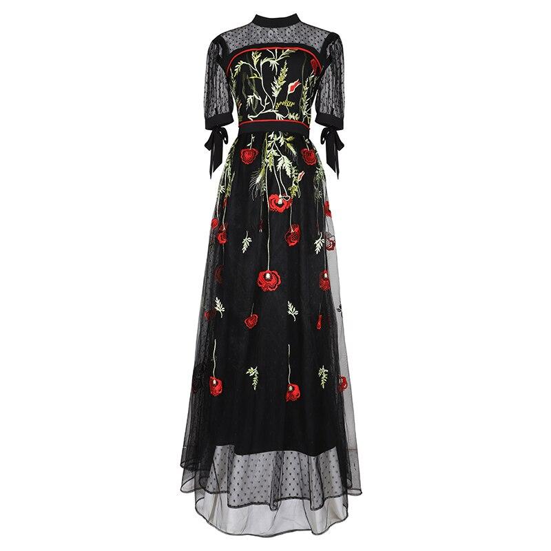 Vestido Verano Malla Primavera Nueva Carga Bordado Vintage Mujeres Calle Sobre Moda Dess Flor Super La Largo De 1xIn0nqE