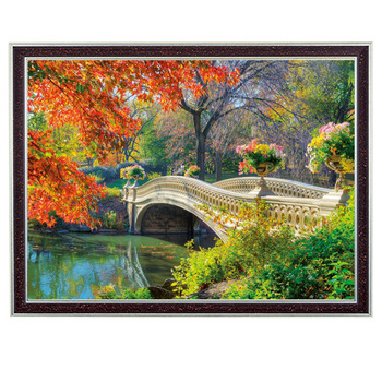 Needlework Crafts 14CT unprinted Embroidery French DMC Counted Cross Stitch Kits Set Oil Painting Bridges Forest Pictures
