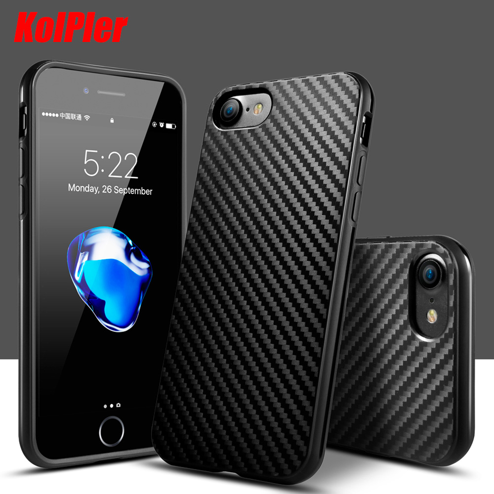 KolPler fodral för iPhone 5s fodral Anti-Knock Texture Silikon fodral för iphone 7 fodral för iPhone 6s 5 se 6 8 Plus telefonväska