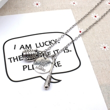 XKXLHJ 2019 New Walking Dead, Round And Stick Necklace Grenade Pendant Fashion Jewelry Necklace new fashion necklace walking dead meat stick and letter necklace pendant fashion jewelry collar necklace