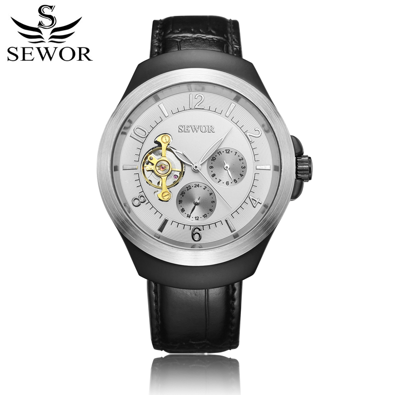 SEWOR Original Mens Automatic Watch Automatic Self-Wind Tourbillon Mechanical Watch Black Leather Skeleton With Box SWQ52 цена