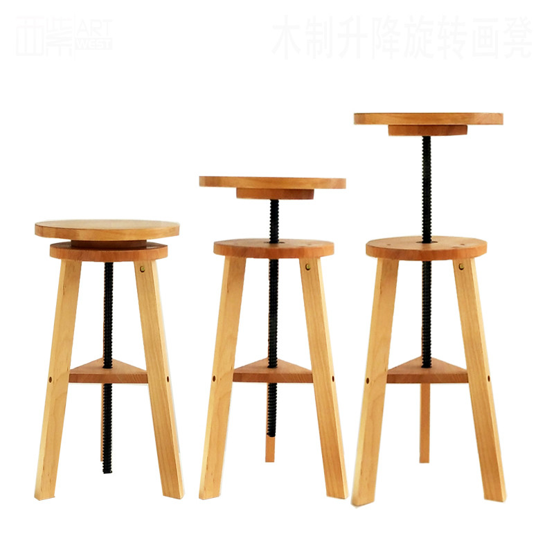 Quality In Multifunctional Wooden Rotating Up And Down Art Painting Stool Wooden Outdoor Sketch Oil Painting Sketch Stool Excellent